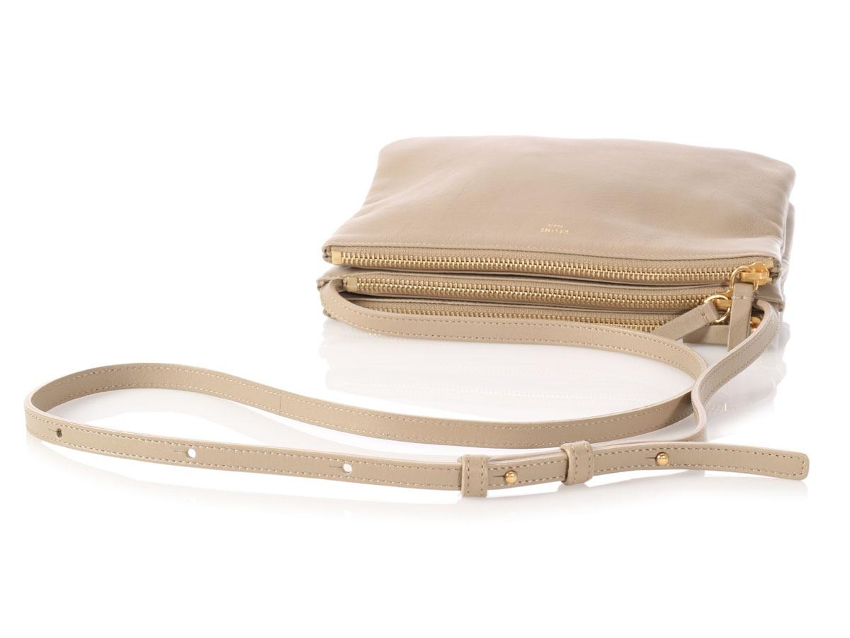 a98d8dfbfa0c Céline Trio Small Beige Leather Cross Body Bag Replica Bags Buy Online