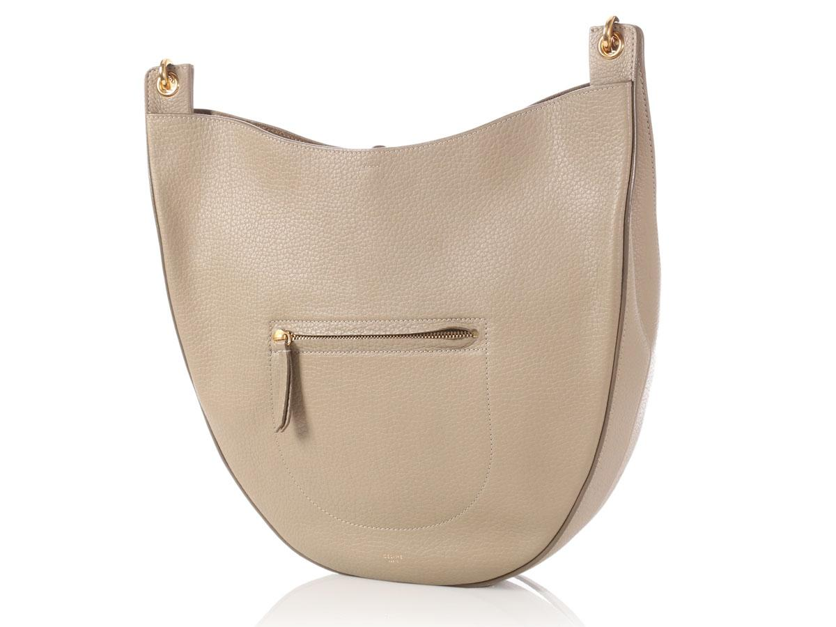 b9e3decdb841 Céline Hobo Medium Taupe Souris Leather Hobo Bag For Sale Replica Bags